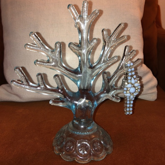 Blue glass Coral Jewelry Holder